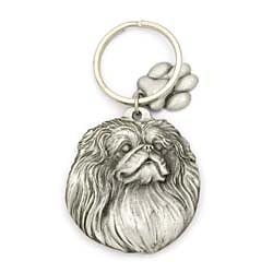 Key Companions Solid Fine Pewter Pekingese with Paw Keychain