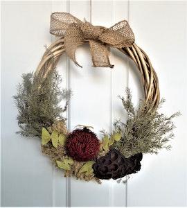 Bambole Designs WREATH- Waratah, Native Flowers, Door Wreath, Bo- Ho Flowers, All Year Wreath, Home Décor, Everlasting Flowers,