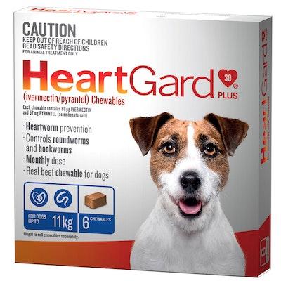 Heartgard Plus 0-11kg Dogs Wormer Treatment & Control Blue 6 Chews