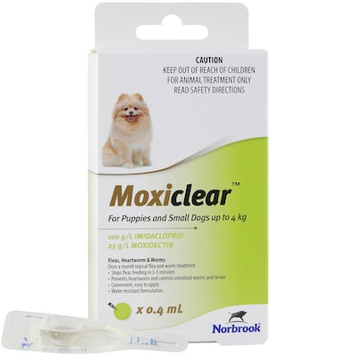 MOXICLEAR Fleas & Worms Treatment for Puppies & Small Dog Up to 4kg Green 3 Pack