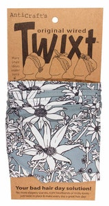 Flannel Flowers on Grey - Twixt / Wired Head Wrap