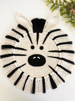 Sculptures of the Earth Macrame wall hanging for kids room- Zebra