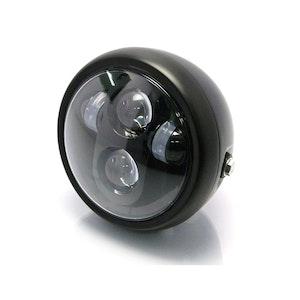 "6"" Black Quad LED Projector Metal Headlight"