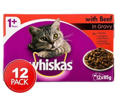 Whiskas Favourites Cat Food with Beef in Gravy 85g x 12