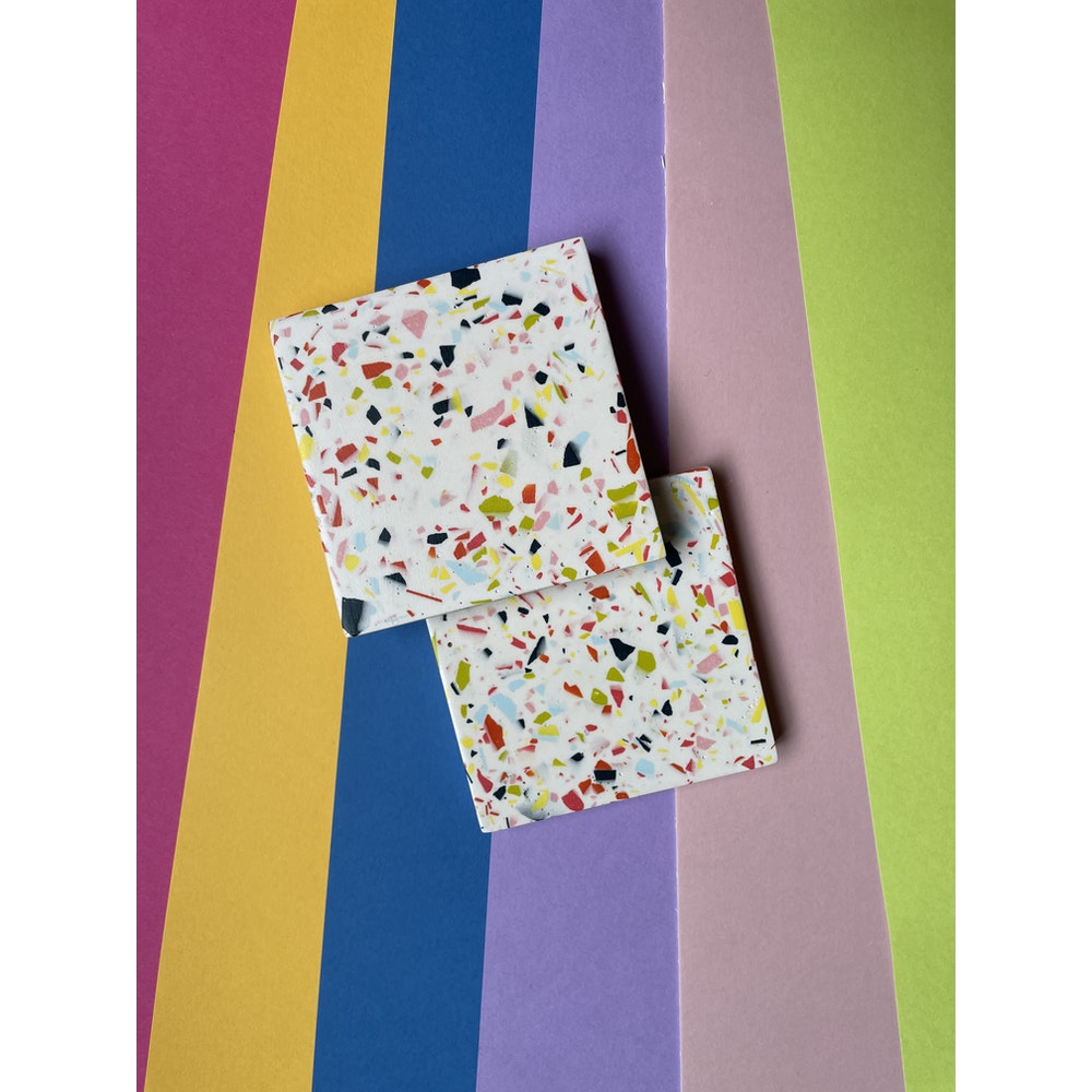 Smudge Creations Set Of 2 Bright Chunky Terrazzo Square Coasters