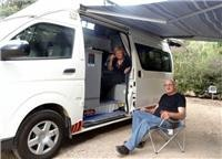 Nick and Agnes with Tassie Motor Shacks van