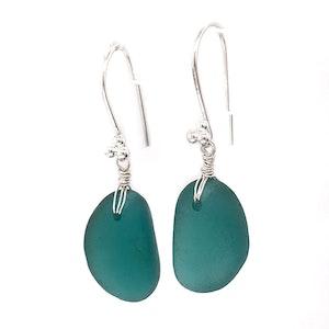Teal Seaglass Earrings Long - Sterling Silver