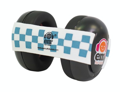 Ems for Kids BABY Earmuffs - BLUE / WHITE on Black