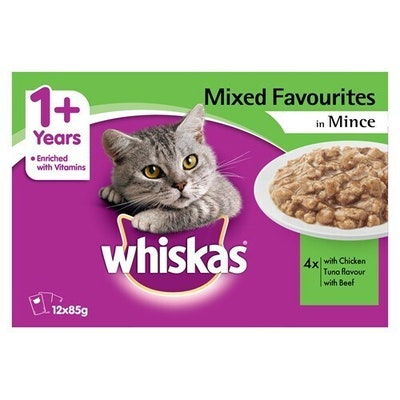 Whiskas Favourites Wet Cat Food Mixed Mince Pack 85g x 12