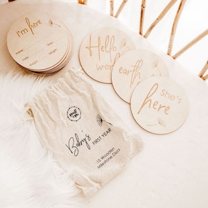 Marli & Me™ Baby's First Year Wooden Milestone Discs | Set of 15