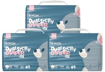 K-Mom Dual Story Diapers/Nappies Pants Size L 9-14kg - 3 packs (102pcs)