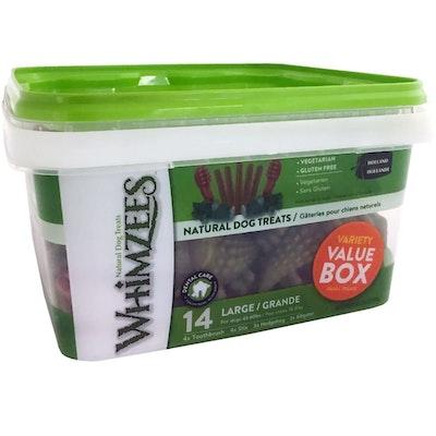 Whimzees Variety Value Box Dental Care Dog Treat - 3 Sizes