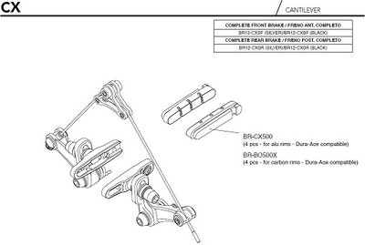 Campagnolo Red Brake Pads For Carbon Rims (Dura-Ace 4 Pcs) BR-BO500X1