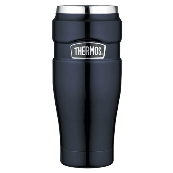 Thermos 470ml Stainless Steel Insulated King Tumbler - Midnight Blue Performance comes standard with Stainless King products from Genuine Thermos® Brand and the 470ml (16-ounce) Vacuum Insulated Travel Tumbler is no exception. Constructed with durable double wall stainless steel and Thermos® vacuum insulation technology, this tumbler keeps beverages hot for up to 7 hours or cold for up to 18 hours. The DrinkLocksealing lid seals tight to keep beverages secure and operates with a simple touch: slide lid tab once to open and once more to close. Additionally, the lid comes equipped with a built-in tea hook that will hold tea bags or most loose leaf tea infusers for easy brewing on the go.  * * Be aware of FAKE Thermos products being soldon ebay.There aremany sellers bothin Australia & overseassellinginferior sub standard replicas.We at Urban Outback Gear are authorised agentsverifiable by Thermos Australia.  About Thermos Founded in 1904, Thermos L.L.C. is the leading manufacturer worldwide of insulated food and beverage containers, children?s lunch kits and other innovative consumer products.