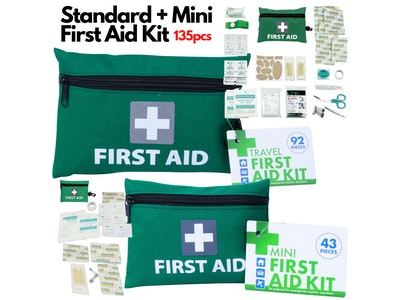 Boutique Medical 2x First Aid Kit 135pcs Big + Mini Emergency Medical Treatment Travel Set