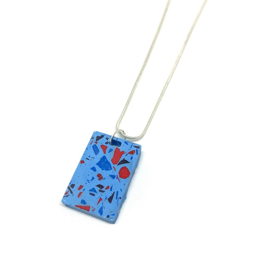 One of a Kind Club Sky Blue Vivid Jesomite Oblong Necklace