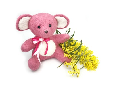 Hand Crafted Needle Felted Pink Bear Keepsake