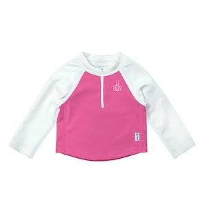 i play. Long Sleeve Zip Rashguard Shirt-White & Hot Pink Colourblock