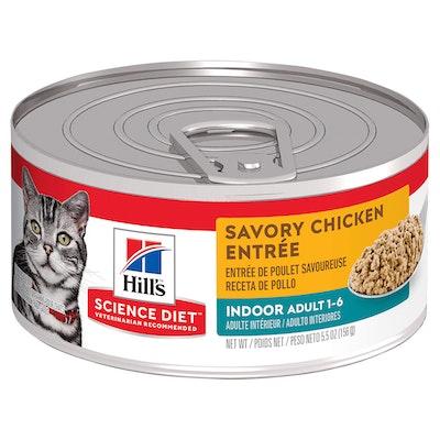 Hills Adult 1+ Indoor Wet Cat Food Savory Chicken Entrée 24 x 156g
