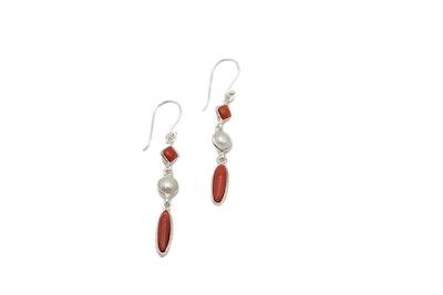 Italian coral drop earring