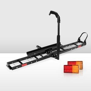 "Motorcycle Carrier Rack 2"" Towbar Arm Rack Dirt Bike Ramp W/Light"