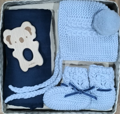 On Chic Baby Clothes Bonnet & Bootie Newborn Baby Shower Gift Box - Boy