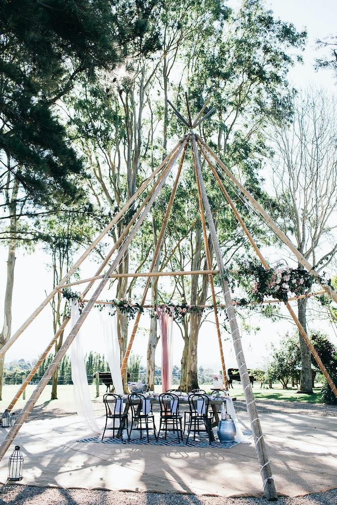Byron Bay Tipi Table Setting LENZO Boho Wedding