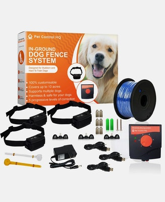 Pet Control HQ Waterproof Rechargeable Electric Dog Fence with 3 Collars