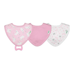 green sprouts Muslin Stay-dry Teether Bibs made from Organic Cotton (3pk)-Pink Bunny-0/12mo
