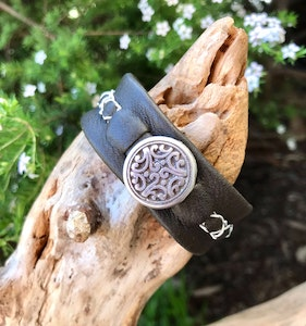 Funky olive leather cuff.