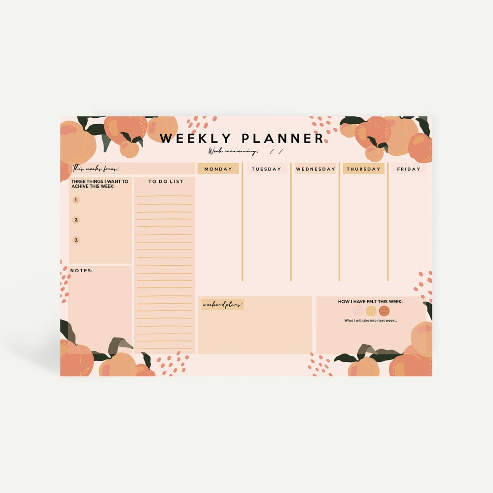Brew Norfolk A4 Weekly Planner Pad With Peach Design
