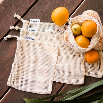 Us and The Earth Set of 3 -100% ORGANIC COTTON openWEAVE PRODUCE BAGS