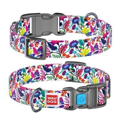 WauDog by the Collar Company WauDog Nylon Dog Collar -Magic-Flowers- Sizes: X-Small, Small, Medium, Large