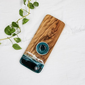 Deep Ocean Resin Cheese Board with Bowl - Small
