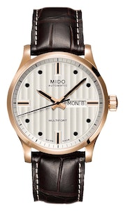 Mido Multifort Gent - Stainless Steel with Rose Gold PVD - Brown Leather Strap