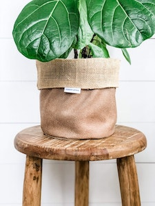Pot Plant Cover - Camel Vegan Leather and Hessian Reversible