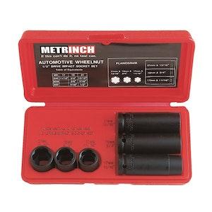 Metrinch 6 pc Wheelnut Impact Socket Set Equals 20 Piece Conventional Set