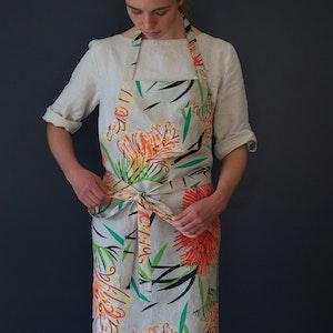 Apron Kitchen Magic Grevillea Print. 100% Pure Linen.