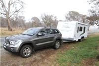 GoSee Jeep and Jayco Sterling 21ft  on the road.
