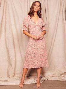 WISH THE LABEL Camellia Midi Dress Peach Print