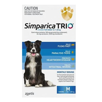 SIMPARICA Trio Flea & Tick Control for Dogs 10.1-20kg Blue - 2 Sizes