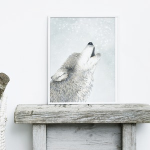 Sky Wolf Howling Wolf Print - A3