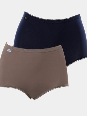 Maxi Full Brief 2 Pack - Navy/Brown