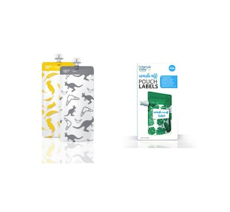 Food Pouch 180mL Maxi's 10pk & Pouch Label Bundle  - Kangaroo Grey & Cockatoo Yellow