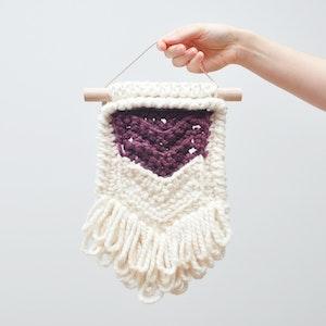 Chevron • Wall Hanging (SMALL) • Crochet Chunky Knit • Colour: FIG + VANILLA