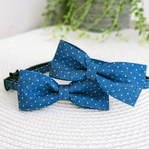 Queenie's Pawprints Bowtie Collar For Small Dogs - Denim Sprinkles