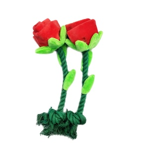 DoggyTopia Single Red Rose Stem Dog Toy