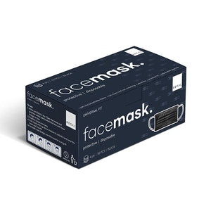 Regal by Anh Hoang Protective Black Face Mask - Universal Fit 4ply Disposable (50 Pack)