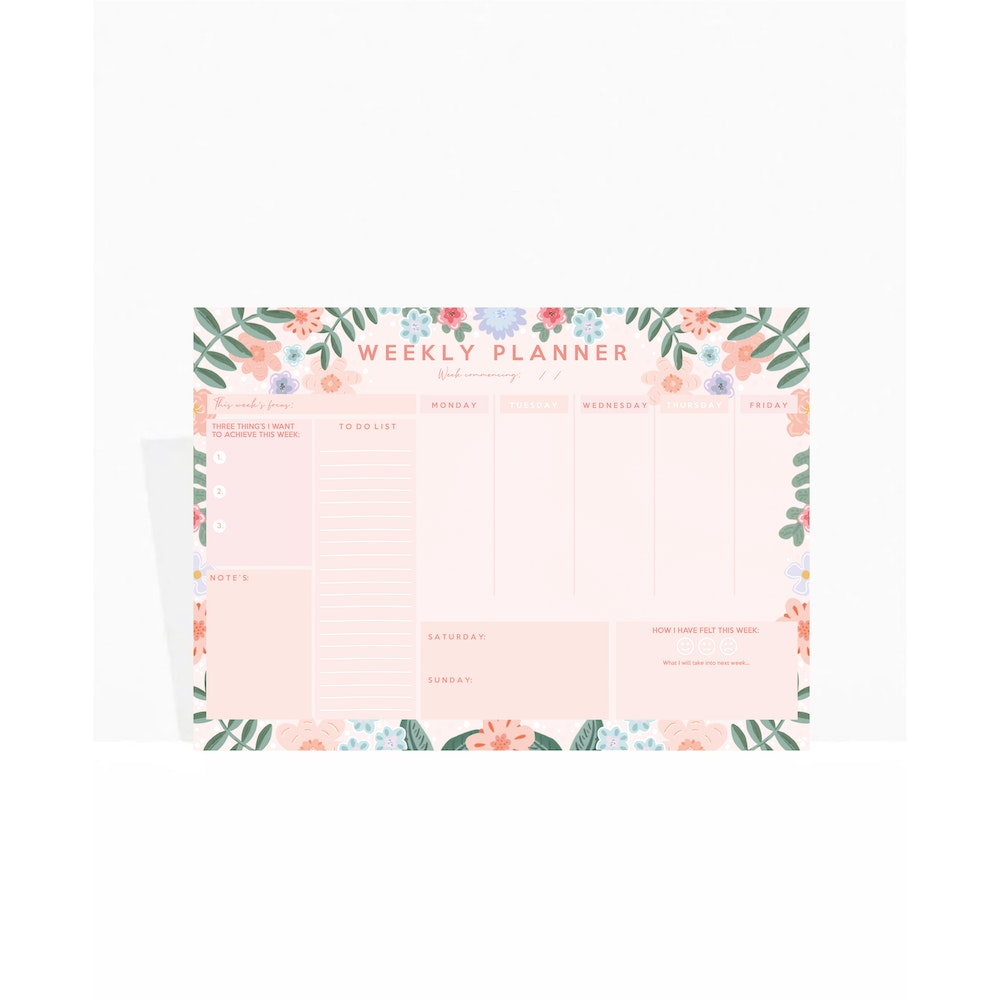 Brew Norfolk A4 Weekly Planner Pad With Floral Design