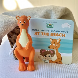 Mizzie the Kangaroo Baby Board Book Gift Set with Mizzie Teething Toy